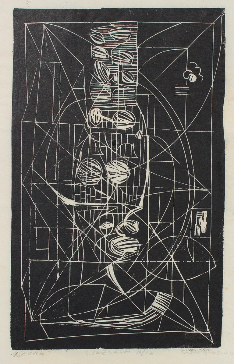 "Santos Rene Irizarry Abstract Print - ""Negra"" Monochromatic Abstract Linoleum Print, 1960s"