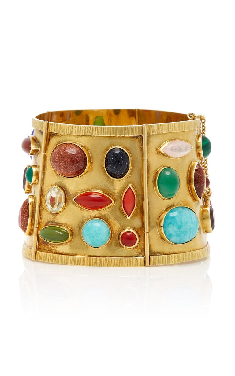 Sanz Multi-Color Gemstone Gold Bracelet In Good Condition For Sale In New York, NY