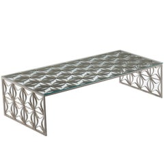 São Cristóvão Brazilian Contemporary Pattern Metal and Glass Centre Table
