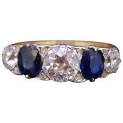Sapphire and Diamond 5-Stone Ring