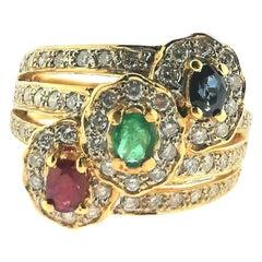 Saphire, Emerald, Ruby and Brilliant Cut Diamonds Yellow 18 Karat Gold Ring