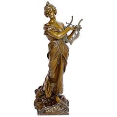 'Sapho' a Large Art Nouveau Bronze Sculpture by Emmanuel Villanis, circa 1890