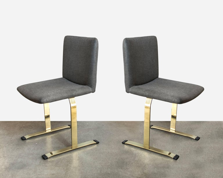 Mid-Century Modern Saporiti Brass Set of Four Dining Chairs For Sale