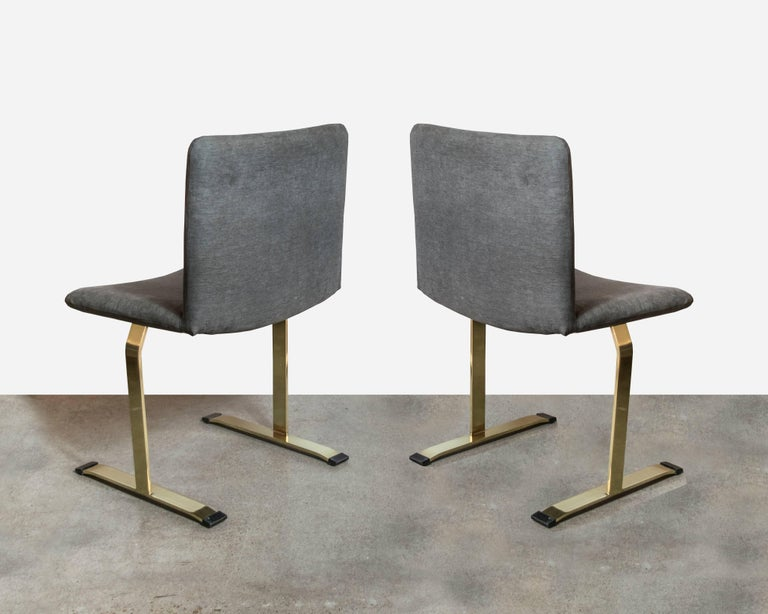 Italian Saporiti Brass Set of Four Dining Chairs For Sale