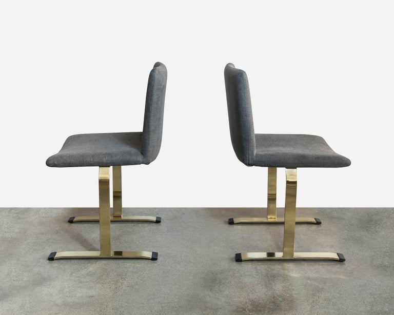 Saporiti Brass Set of Four Dining Chairs In Excellent Condition For Sale In Houston, TX