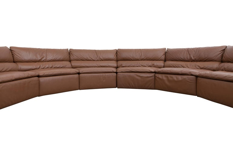 Mid-Century Modern Saporiti Brown Leather Sectional Sofa, Italy, 1960s For Sale