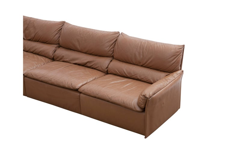 Mid-20th Century Saporiti Brown Leather Sectional Sofa, Italy, 1960s For Sale