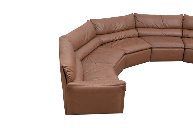 Saporiti Brown Leather Sectional Sofa, Italy, 1960s For Sale 2