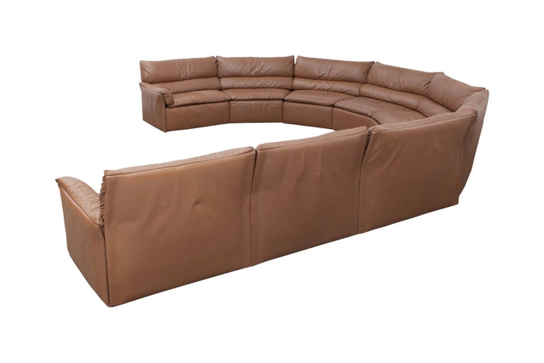 Saporiti Brown Leather Sectional Sofa, Italy, 1960s For Sale 3