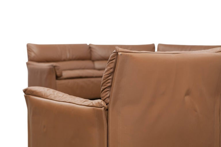 Saporiti Brown Leather Sectional Sofa, Italy, 1960s For Sale 4