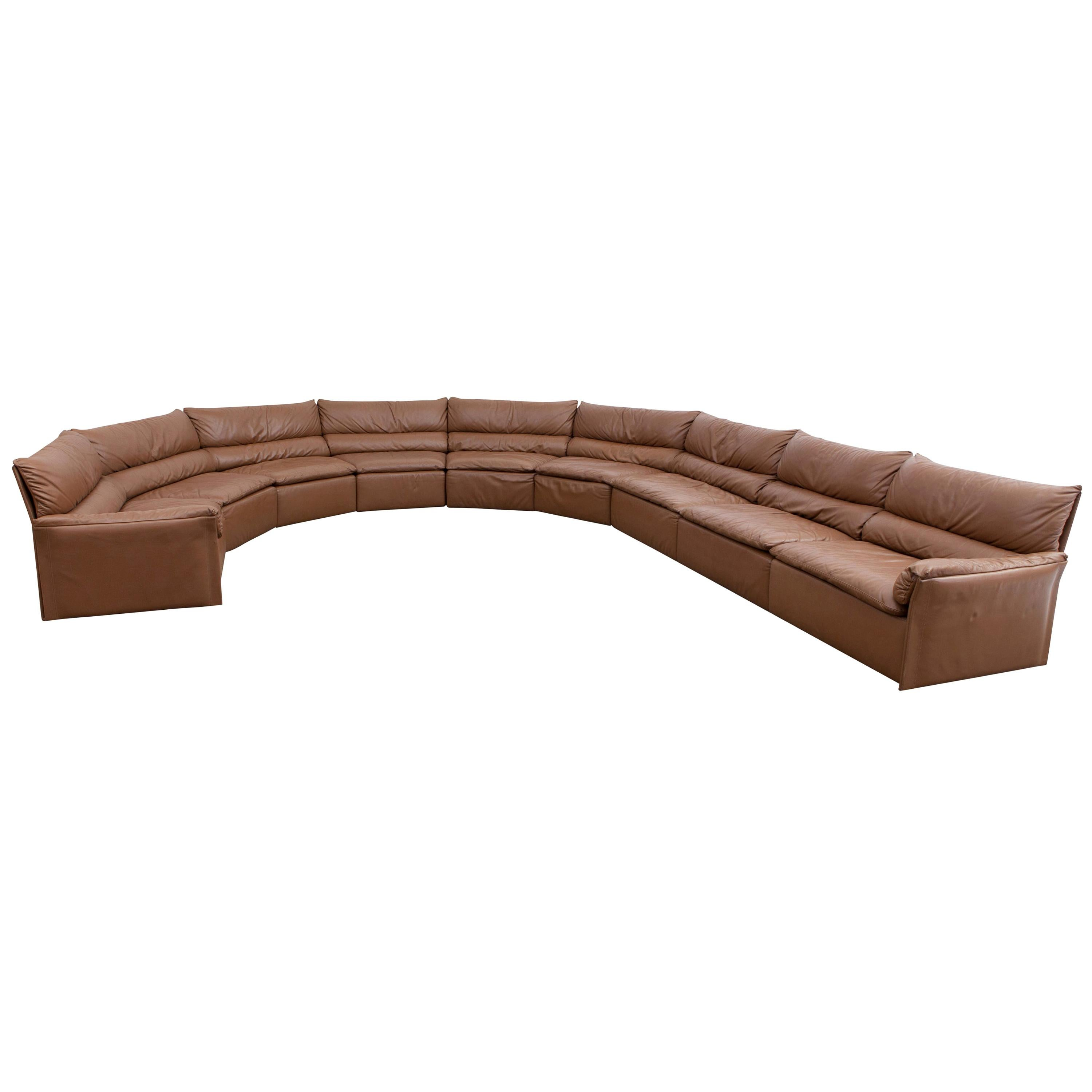 Saporiti Brown Leather Sectional Sofa, Italy, 1960s