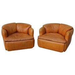 Saporiti Cognac Leather Confidential Lounge Chairs by Alberto Rosselli Italy '70