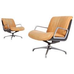 Saporiti Cognac Leather Lounge Chairs
