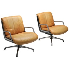 Saporiti Cognac Leather Lounge Chairs