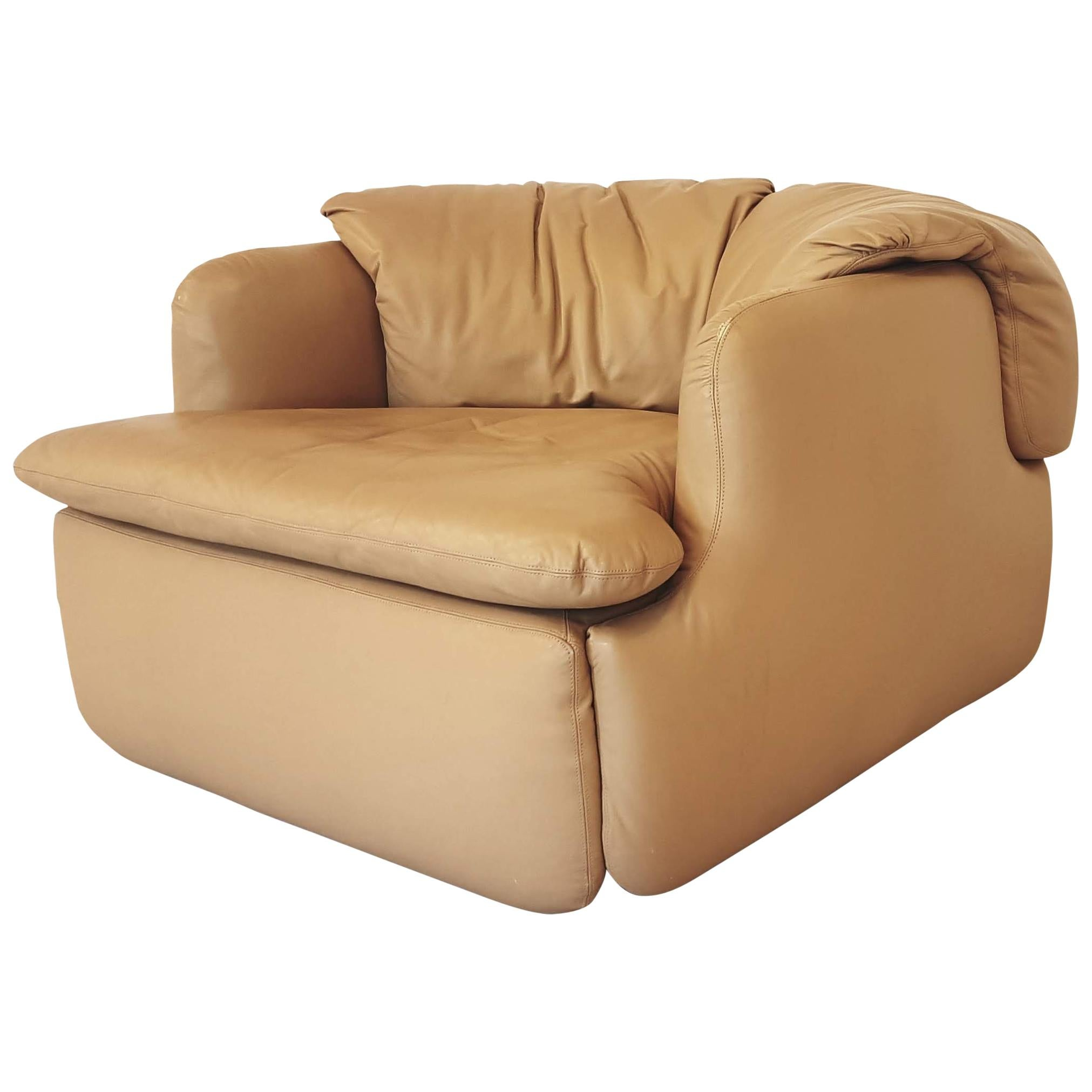 Saporiti Confidential Camel Leather Club Chair By Alberto Rosselli For Sale