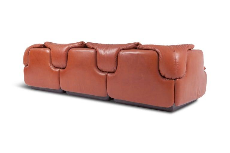 Saporiti 'Confidential' Cognac Leather Sofa by Alberto Rosselli For Sale 4