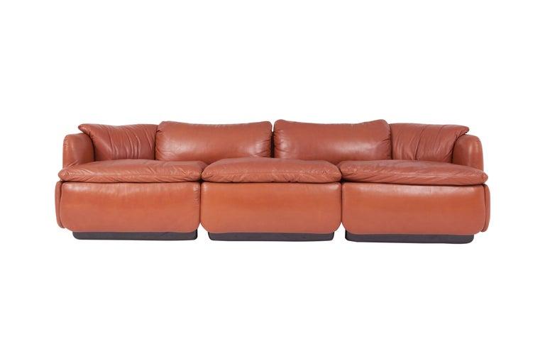 Saporiti 'Confidential' Cognac Leather Sofa by Alberto Rosselli For Sale 5