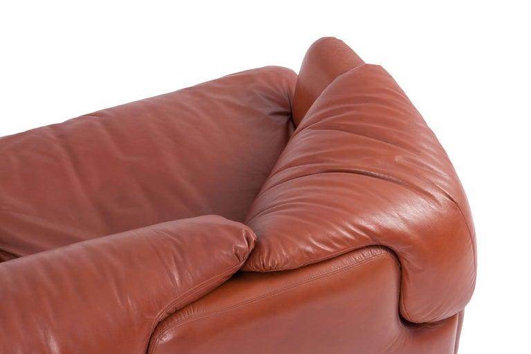 Saporiti 'Confidential' Cognac Leather Sofa by Alberto Rosselli For Sale 8