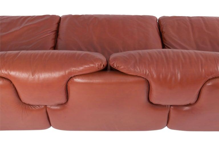 Saporiti 'Confidential' Cognac Leather Sofa by Alberto Rosselli For Sale 9