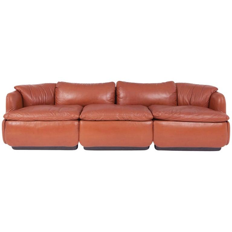 Mid-Century Modern Saporiti 'Confidential' Cognac Leather Sofa by Alberto Rosselli For Sale
