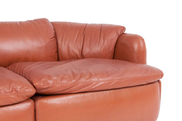Late 20th Century Saporiti 'Confidential' Cognac Leather Sofa by Alberto Rosselli For Sale