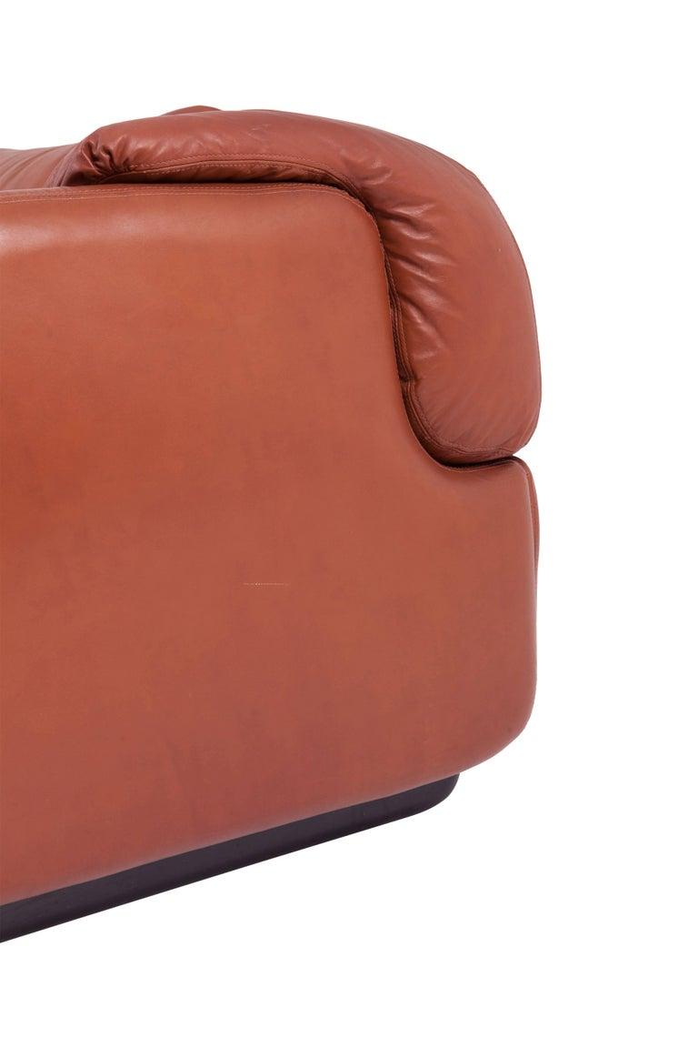 Saporiti 'Confidential' Cognac Leather Sofa by Alberto Rosselli For Sale 1