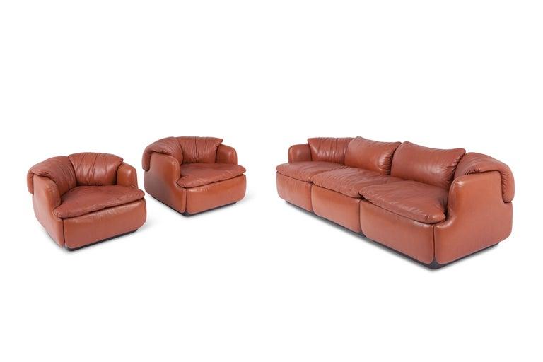 Saporiti 'Confidential' Cognac Leather Sofa by Alberto Rosselli For Sale 2