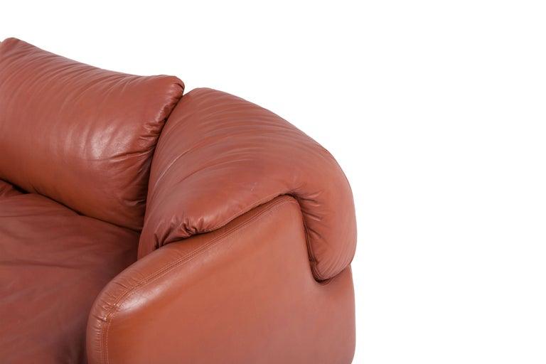 Saporiti 'Confidential' Cognac Leather Sofa by Alberto Rosselli For Sale 3