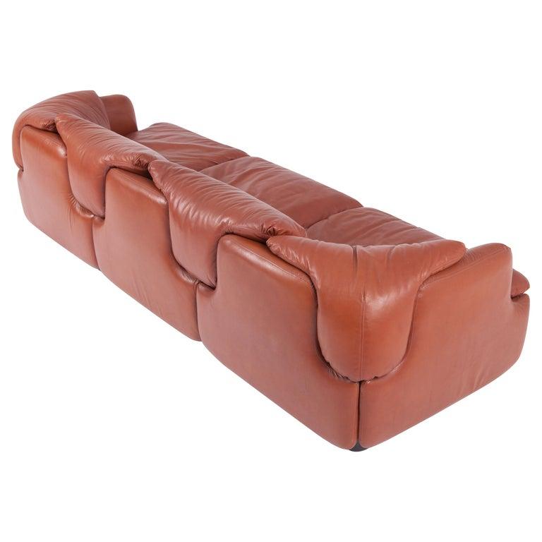 Saporiti 'Confidential' Cognac Leather Sofa by Alberto Rosselli For Sale