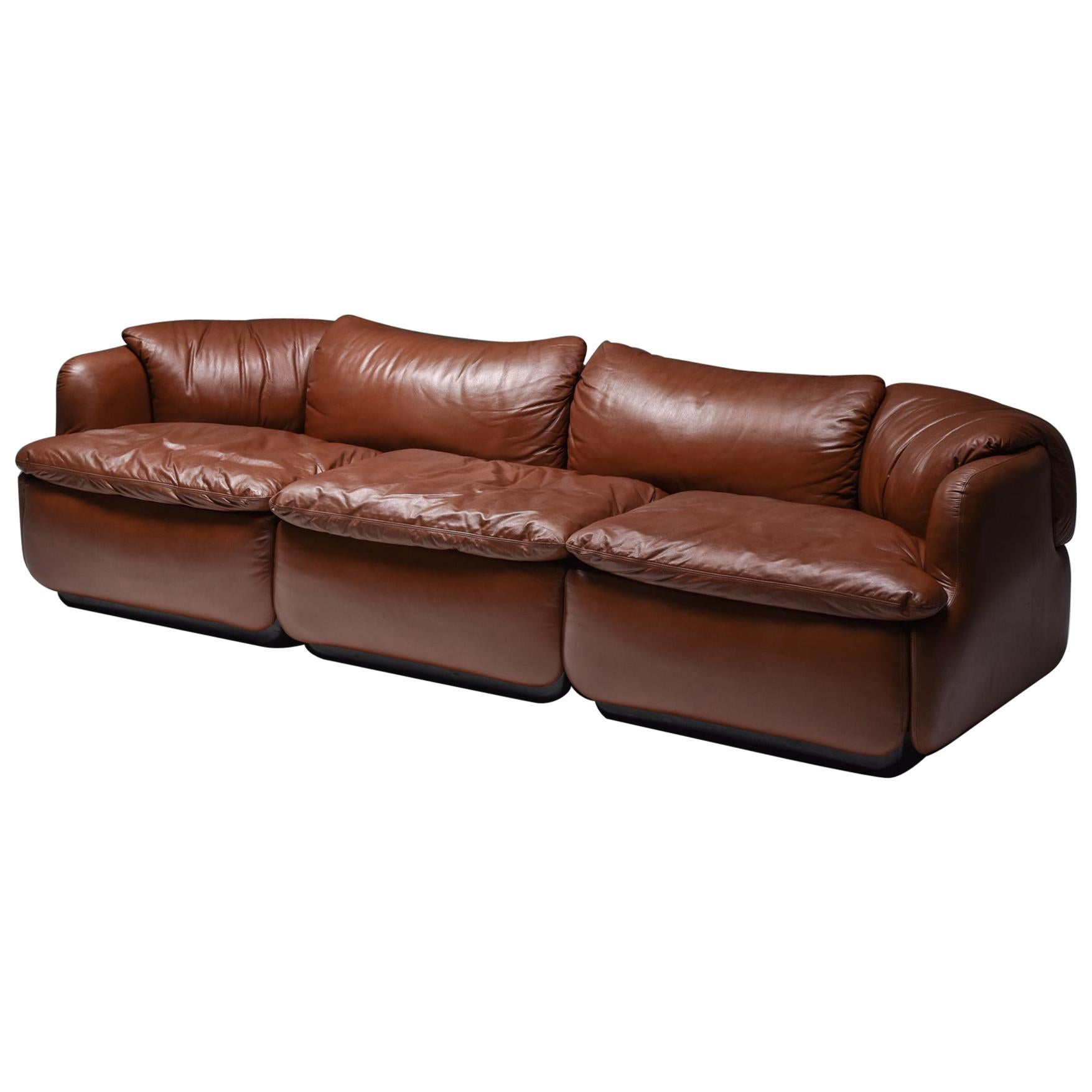 Saporiti 'Confidential' Cognac Leather Sofa by Alberto Rosselli