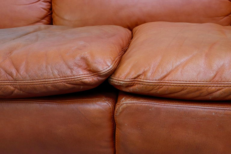 Saporiti 'Confidential' Leather Sectional Sofa by Alberto Rosselli For Sale 5