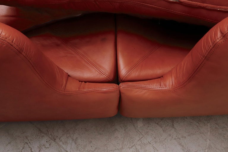 Saporiti 'Confidential' Leather Sectional Sofa by Alberto Rosselli For Sale 6