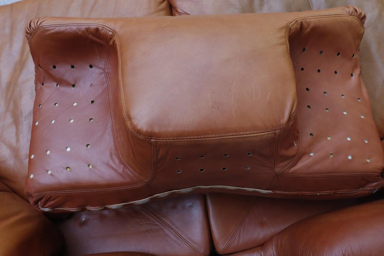 Saporiti 'Confidential' Leather Sectional Sofa by Alberto Rosselli For Sale 7