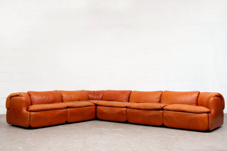 Mid-Century Modern Saporiti 'Confidential' Leather Sectional Sofa by Alberto Rosselli For Sale