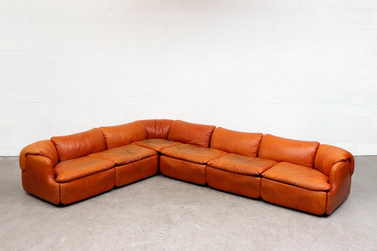 Italian Saporiti 'Confidential' Leather Sectional Sofa by Alberto Rosselli For Sale