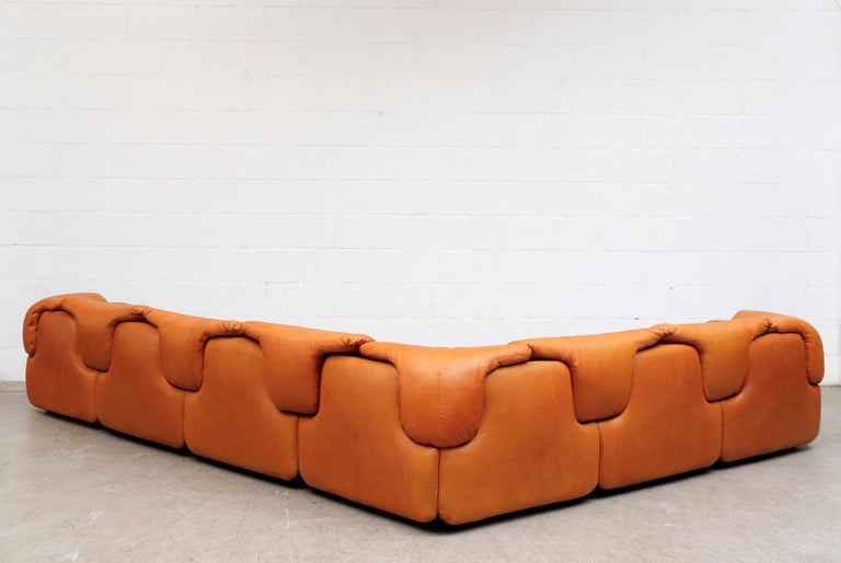 Late 20th Century Saporiti 'Confidential' Leather Sectional Sofa by Alberto Rosselli For Sale