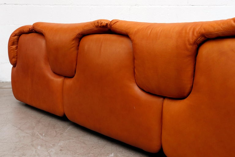 Saporiti 'Confidential' Leather Sectional Sofa by Alberto Rosselli For Sale 1