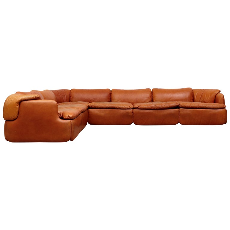 Saporiti 'Confidential' Leather Sectional Sofa by Alberto Rosselli For Sale