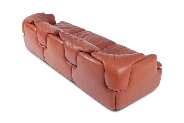 """Italian Saporiti """"Confidential"""" Leather Sofa by Alberto Rosselli For Sale"""