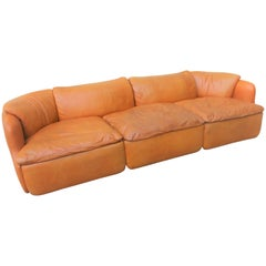 "Saporiti ""Confidential"" Light Cognac Leather Sectional Sofa by Alberto Rosselli"