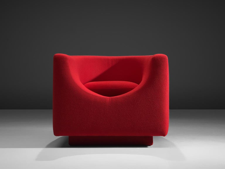 Mid-Century Modern Saporiti Cube Chair with Red Upholstery For Sale