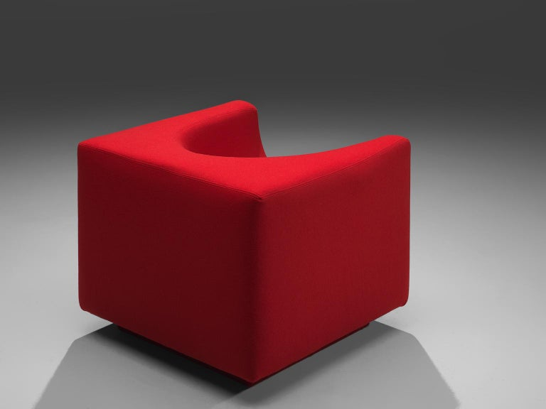 Italian Saporiti Cube Chair with Red Upholstery For Sale