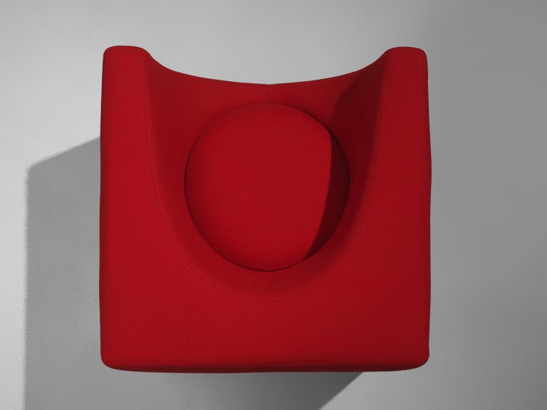 Saporiti Cube Chair with Red Upholstery In Good Condition For Sale In Waalwijk, NL