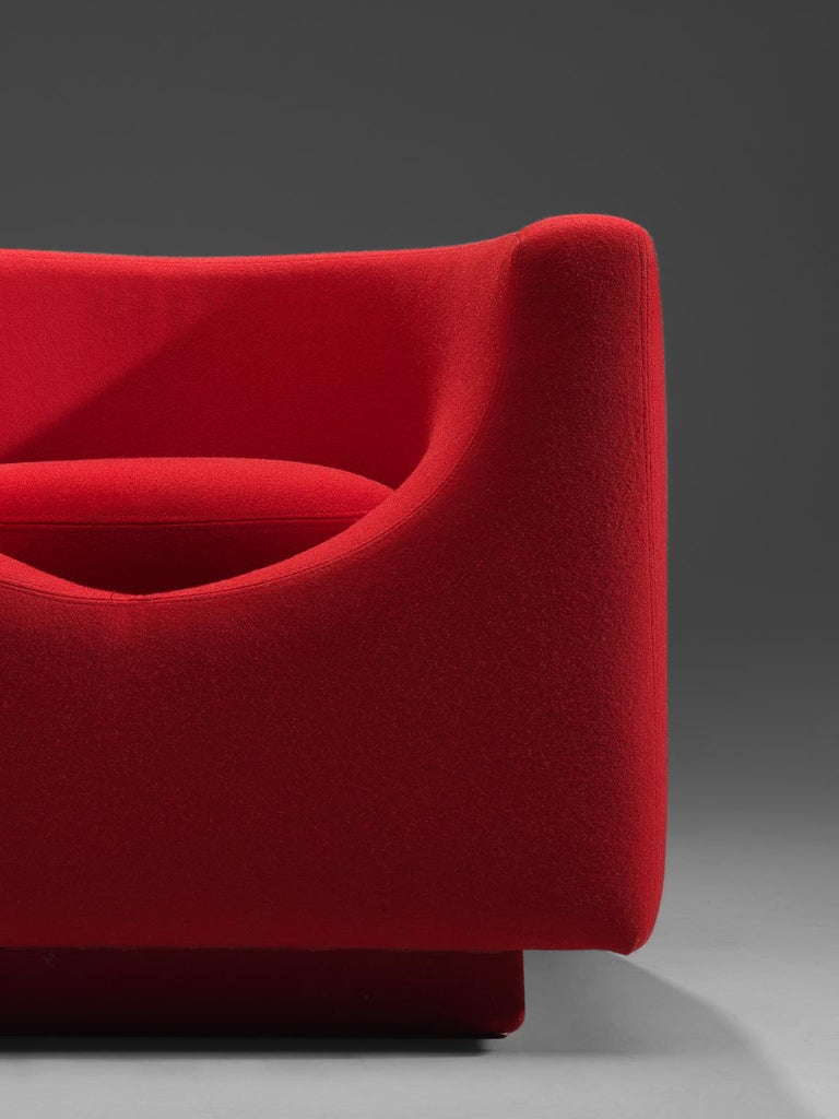 Late 20th Century Saporiti Cube Chair with Red Upholstery For Sale