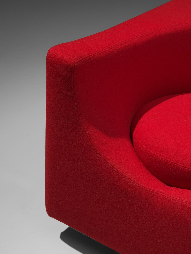 Fabric Saporiti Cube Chair with Red Upholstery For Sale