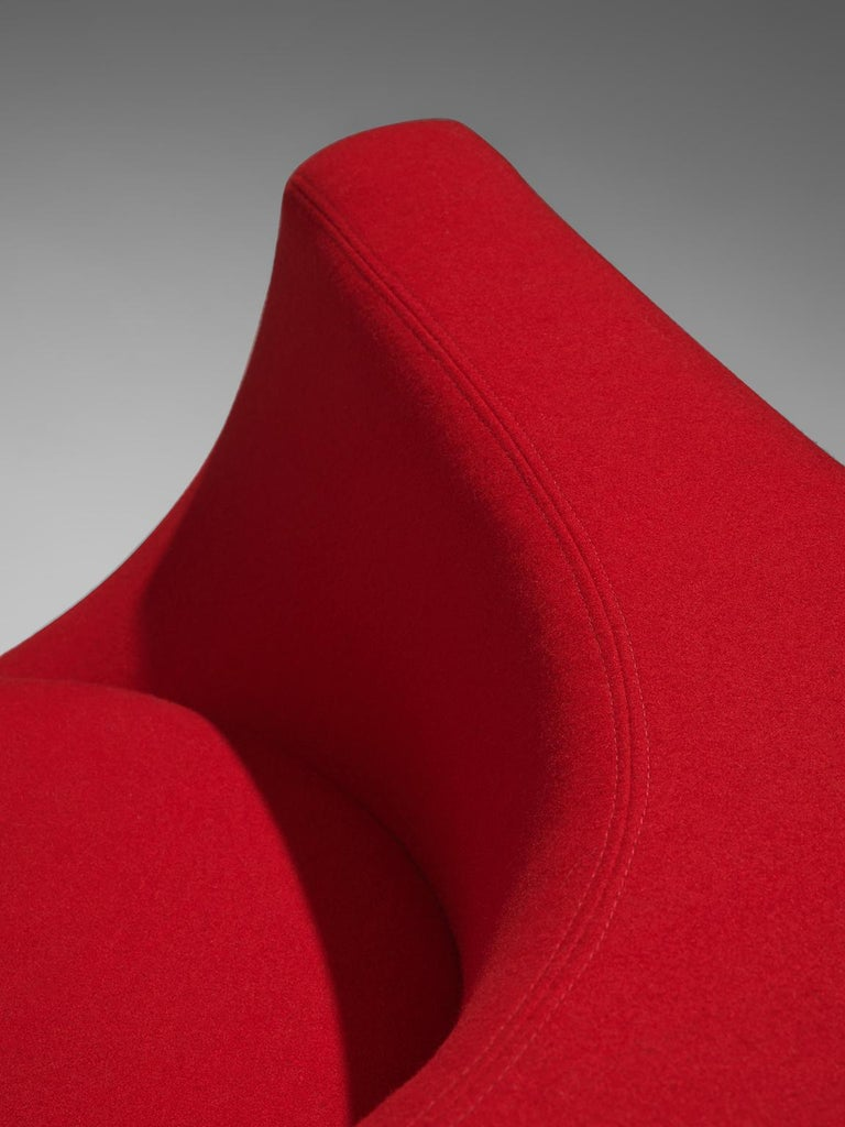 Saporiti Cube Chair with Red Upholstery For Sale 1