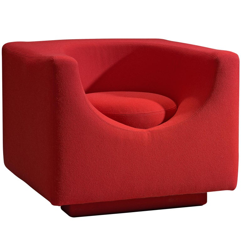 Saporiti Cube Chair with Red Upholstery For Sale