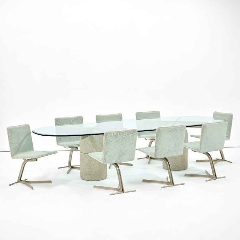 Mid-Century Modern Saporiti Dining Chairs, Set of Eight, circa 1970s For Sale