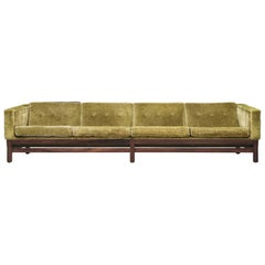 Saporiti Four-Seat Sofa in Green Velvet and Rosewood