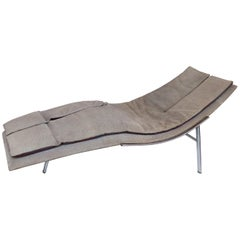 Saporiti Italia Chaise Lounge with Suede Upholstery